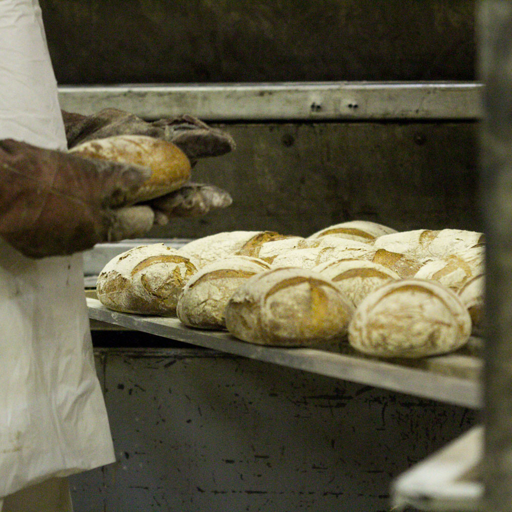 Bread going into an oven